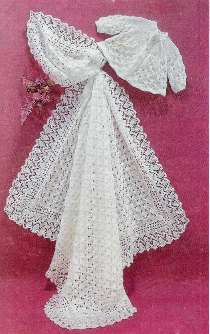 Baby Matinee Jacket and Christening Shawl, 3ply and 4ply yarn, sized for 17 - 19 ins chest