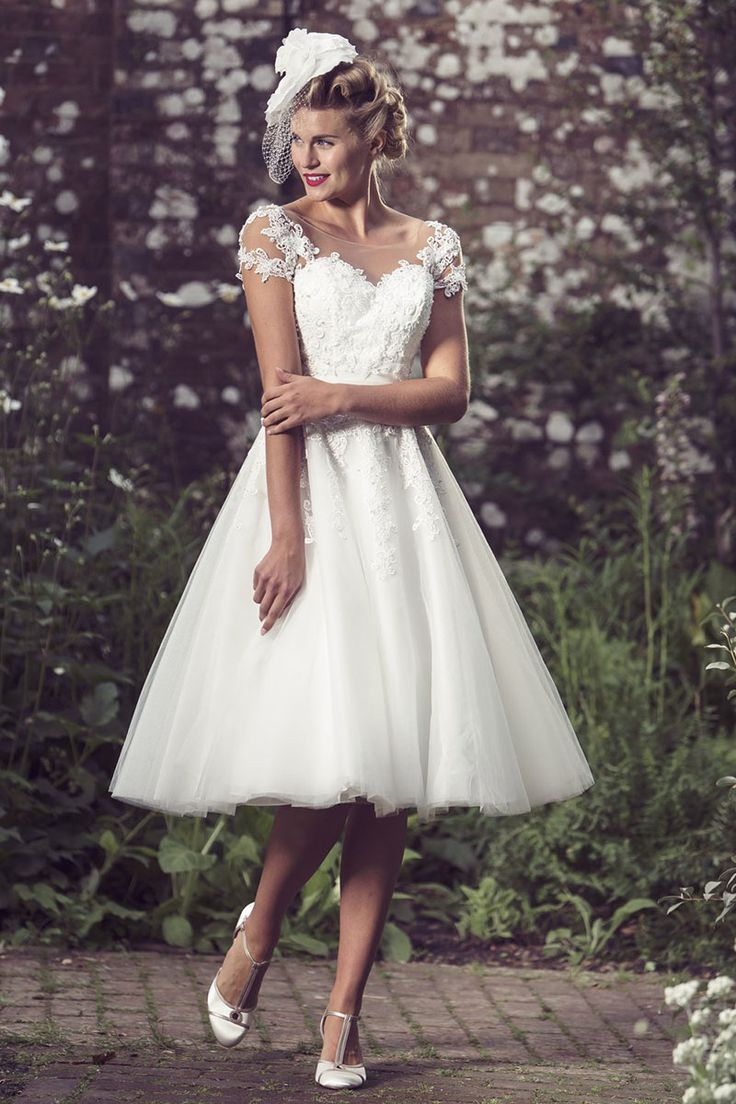 23 best wedding dresses images on pinterest wedding dressses vintage short wedding dress features illusion cap sleeves lace bodice topped by layered tulle knee length ombrellifo Choice Image