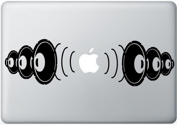 bass boom DJ Speakers music DECAL- macbook PC computer- Gadget Art / Accessory- smart Geek Chic perfect gift. $15.00, via Etsy.