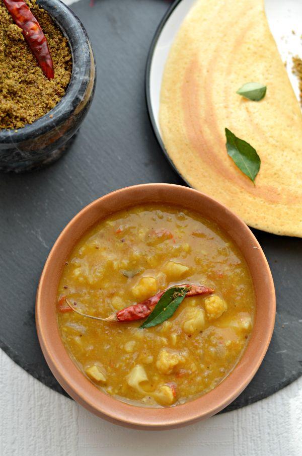 Gobi sambar- South Indian Cauliflower & lentils stew Vegan + GF + low calorie + High proteins