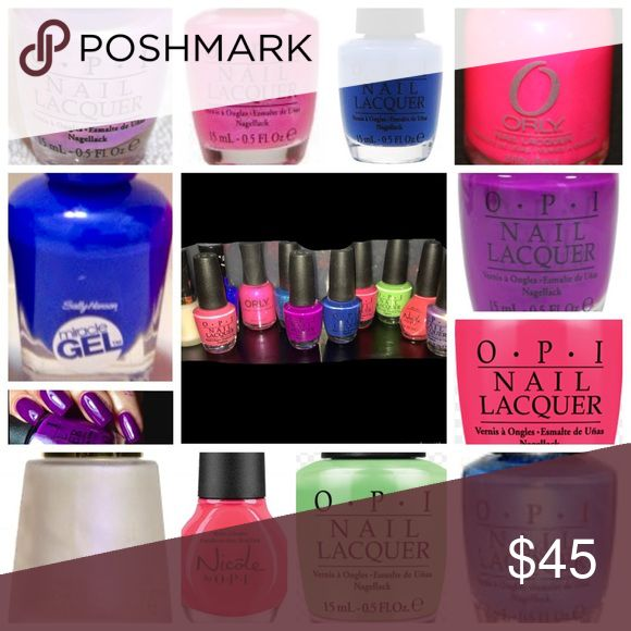 Brand new nail polish bundle OPI 11 unused nail polish lot includes: *OPI-Hotter than you pink  *OPI-Dating a royal *OPI-Push and pur-pull *OPI-Teal the cows come home *OPI-Charged up Cherry *OPI-Significant other color *OPI-You are so outta lime! *Nicole by OPI-Let's coral it a night *Orly-Oh cabana boy *Sally Hansen Miracle Gel-Tidal wave *Revlon Transforming Effects-Matte pearl glaze Other