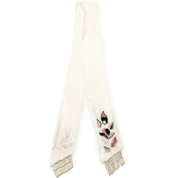 Andrea Bogosian Embroidered Scarf ($239) ❤ liked on Polyvore featuring accessories, scarves, silk shawl, embroidered shawl, embroidered scarves, pure silk scarves and silk scarves
