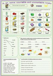 English worksheet: A, an, some: countable and uncountable nouns (food)