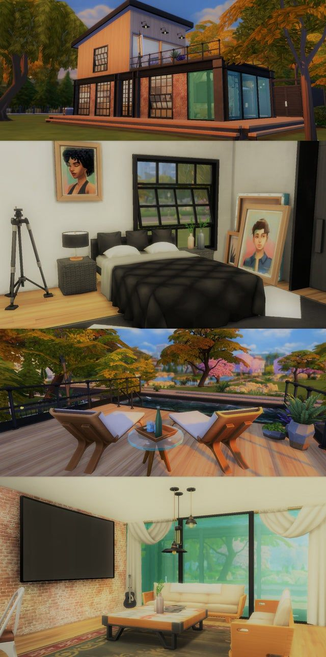 I M Still Not Great At Building But I M Actually Kinda Proud Of This Build Made For A Photographer And His Artis Sims 4 House Design House Design Sims 4 Build