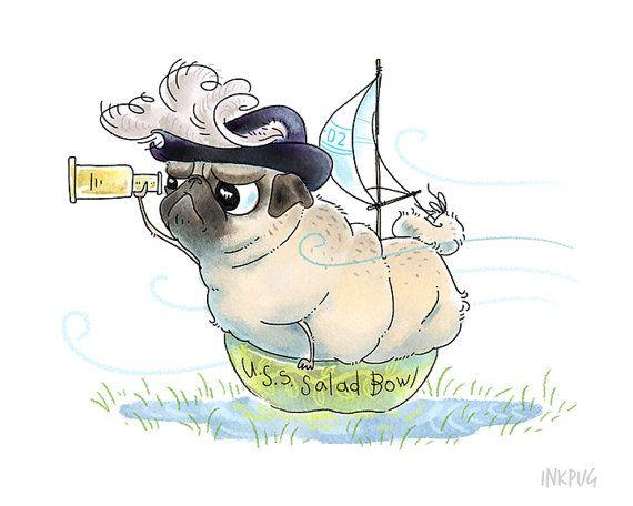 Pirate Pug Art Print - 5x7 Funny Pug Dog Art, Cute Pug Drawing, Pug Illustration, Adventure Art, Funny Art Print, Nautical Decor by Inkpug
