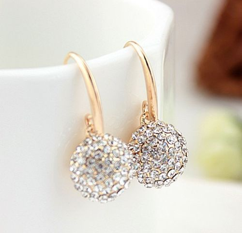 No.5999 Luxury Round Clear Crystal Ball Allergy Free Lady Dangle Earrings