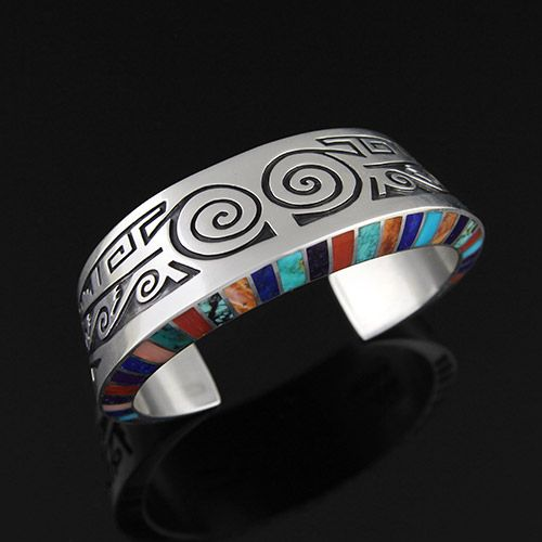Cuff   Lonn Parker (Navajo). Sterling Silver, Natural Turquoise, Coral, Spiny Oyster, Lapis, and Sugilite