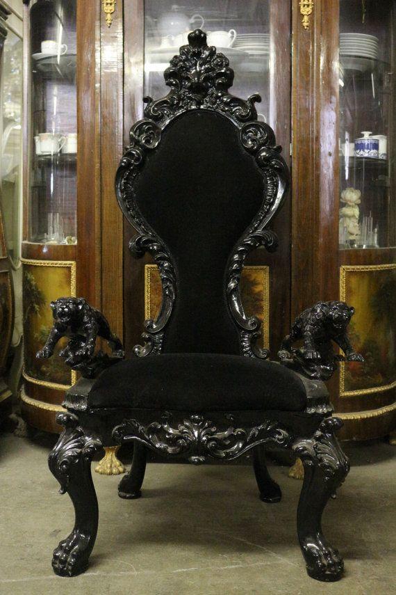 Black Gothic Jaguar Throne Chair/Party Accent Chair Tufted Plush Velvet