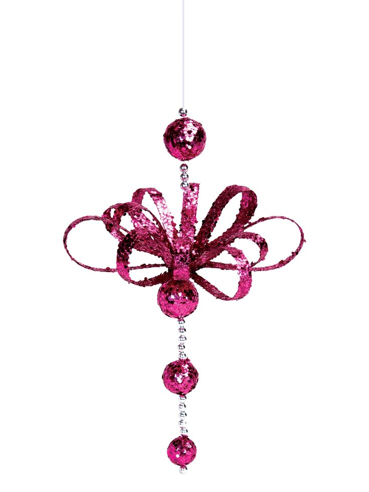 "Dangly Fuchia Christmas Ornaments, 7""L. SALE 12  for $42.."