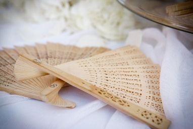 Elegant White wedding wooden fan #chicwedding #woodenfans