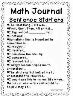 For binders Math Journal sentance starters