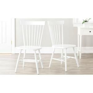 Safavieh Riley White Wood Dining Chair (Set of 2) AMH8500A-SET2 at The Home Depot - Mobile