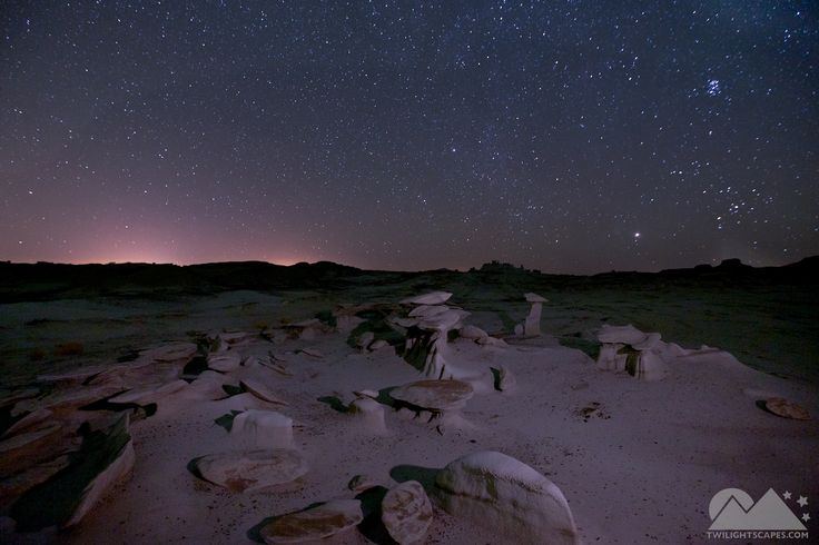 Night 74 A field of small hoodoos I found on the return portion of a 5-mile hike in the cold early morning hours in the Bisti Badlands.   View More: http://yearofnight.com/night-74/ Tags:  #Bisti, #Desert, #Hoodoo, #LightPollution, #NewMexico, #Rocks, #Stone, #Twilightscapes, #Yearofnight