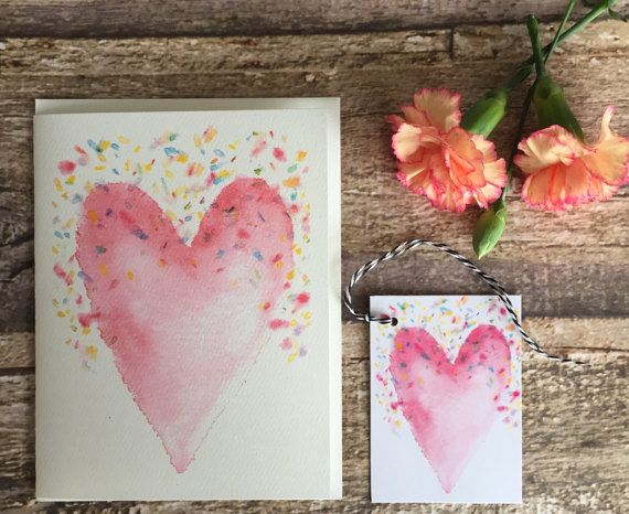 Watercolour note card  matching gift tag of pretty pink heart