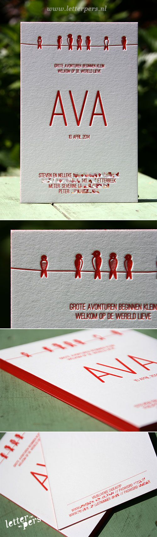 letterpers_letterpress_geboortekaartje_ava_rood_kleuropsnede_vogels_strak