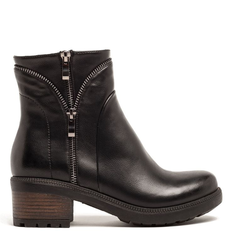 Black bootie with zippers
