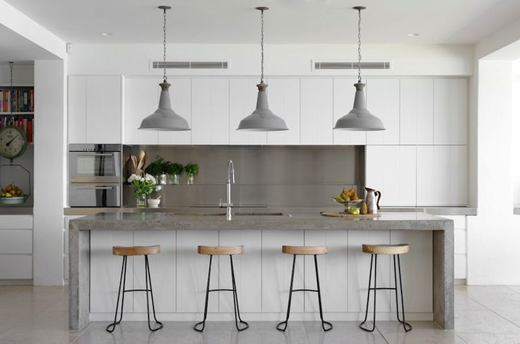 Justine Hugh Jones Design - kitchens - Wisteria Smart and Sleek Stool, white and gray kitchen, industrial kitchen, frameless cabinets, frame...