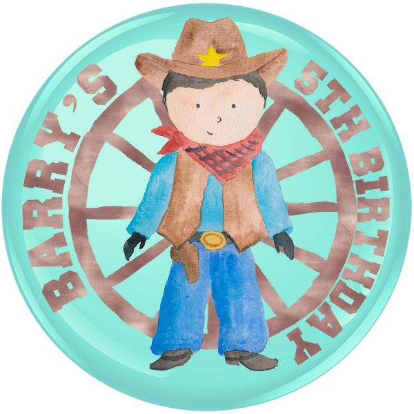 Cowboy Personalised Birthday Party Badge #916