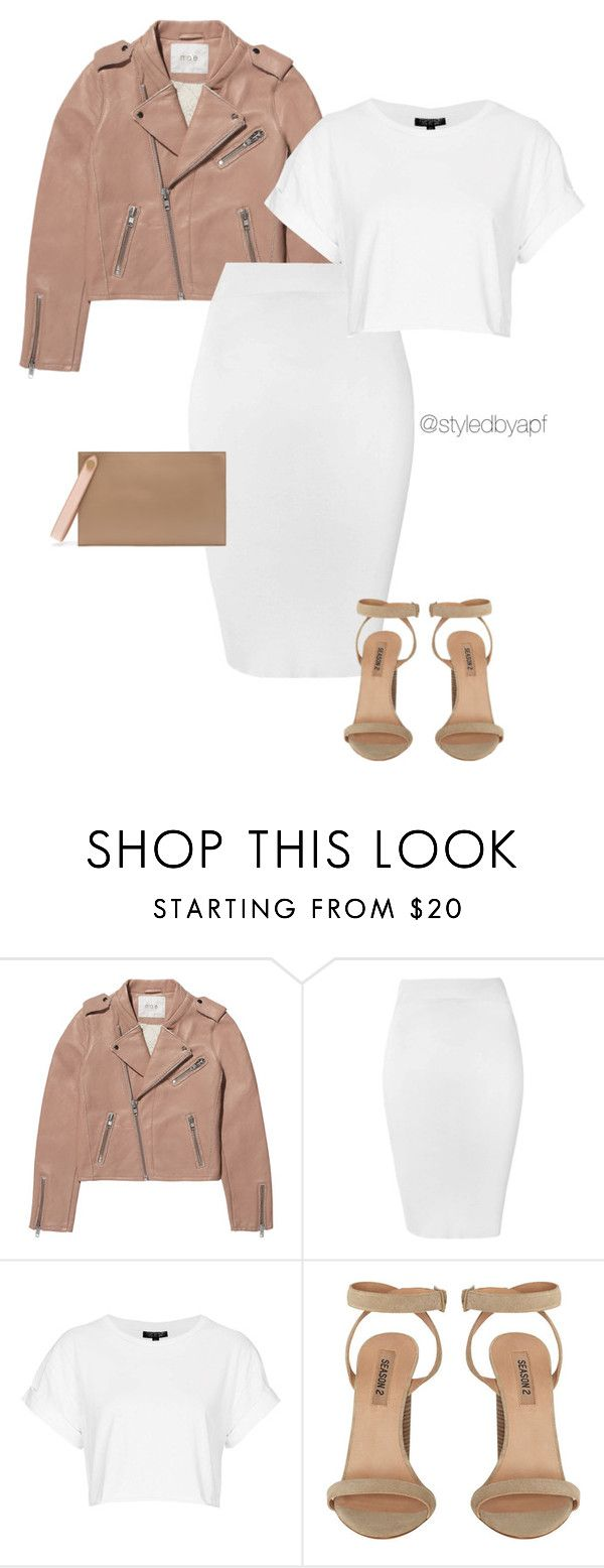 """""""WHITE X NUDE"""" by apf-style on Polyvore featuring Maje, Glamorous, Topshop and Mulberry"""
