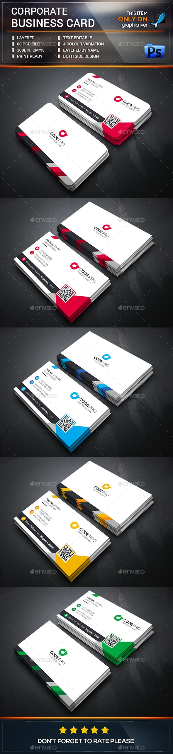 Simply Corporate Business Card Template PSD #design Download: graphicriver.net/....