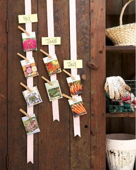 Cute idea for organizing gardens plans — or other reminders. Just pin on a ribbon!