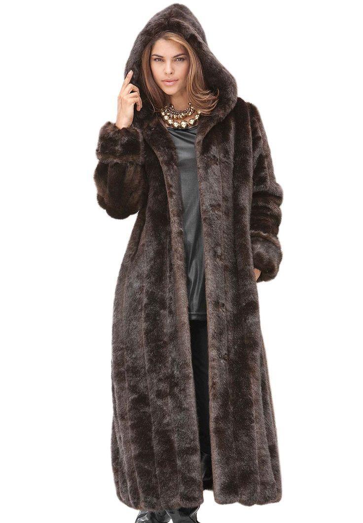 Plus Size Long Faux Fur Coat