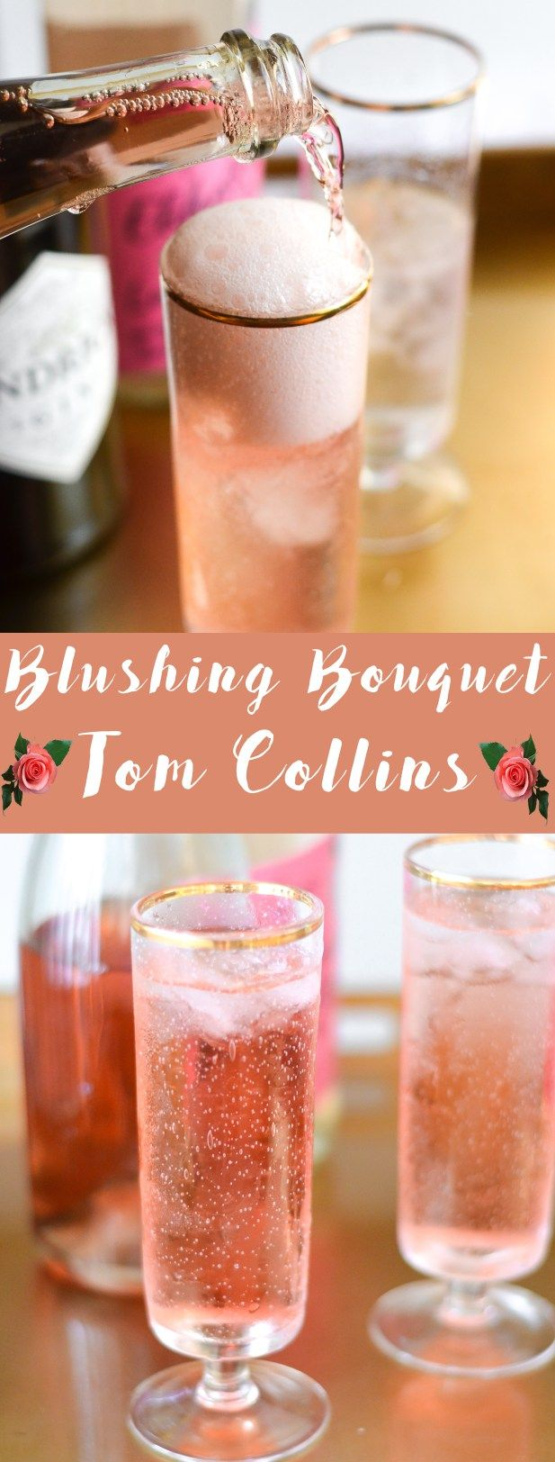 Say hello to your Valentine's Day cocktail. The Blushing Bouquet Tom Collins made with Gin, Elderflower, Rose and Rosé Moscato. | @my