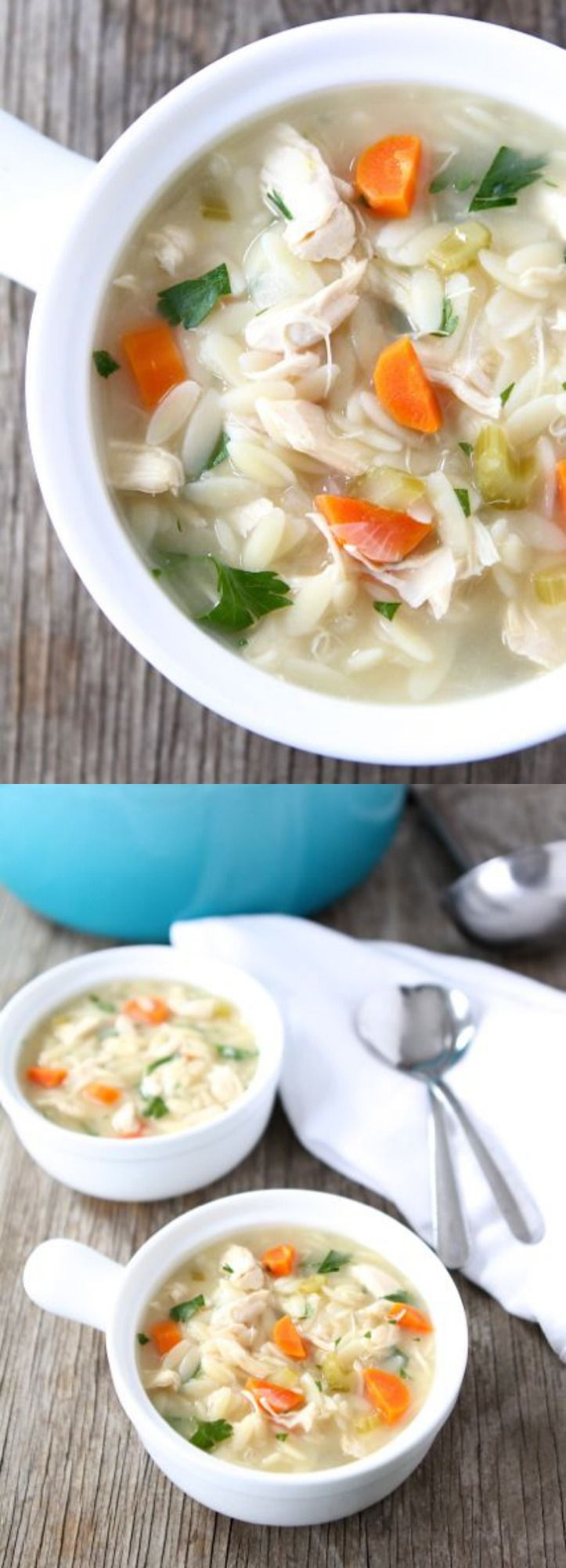 Lemon Chicken Orzo Soup Recipe on twopeasandtheirpod.com This comforting soup is easy to make and SO good! #chicken #soup