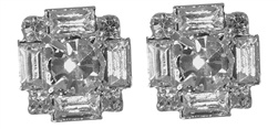 These large baguette Rhinestone Earrings are sure to give you a little sparkle. This pair measures 1/2 inch by 1/2 inch. The center circular rhinestone is 6 mm surrounded by 4mm long rhinestones with 2mm corner rhinestones. Earring backs are barrel type with hypo-allergenic posts. Plated in silver.#earrings#post earrings#stud earrings#bridal earrings#bridal jewelry#bridesmaids jewelry#bridesmaids earrings#rhinestone earrings prom earrings#earrings for prom#wedding earrings#silver earrings