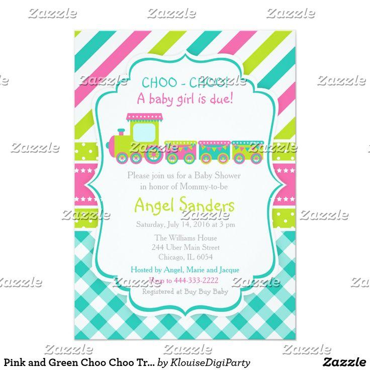 Pink and Green Choo Choo Train Baby Shower Card