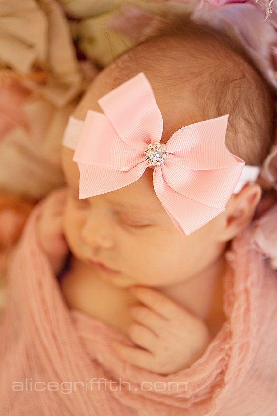 Baby headband, light pink bow headband, baby girl headband, newborn headband, Infant headband, rhinestone bow headband on Etsy, $9.95 --THAT BOW!