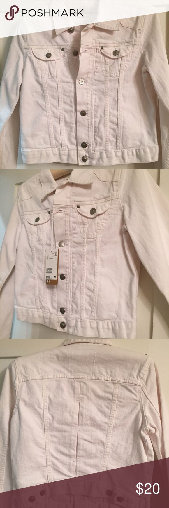 White jean jacket Never worn. Tags still on. White jeans jacket H&M Jackets & Coats Jean Jackets