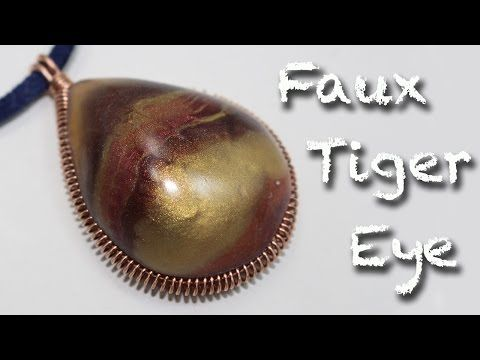 DIY Faux labradorite wrap pendant with silver shaped frame - YouTube