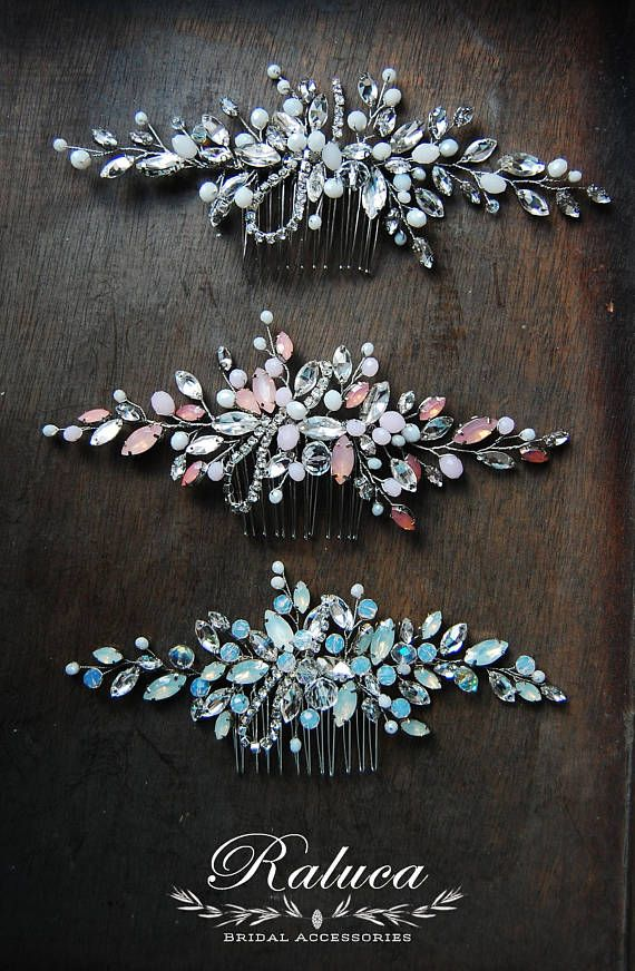 Opal Bridal Wedding Hairpiece Hair Comb Headpiece Bridal Accessories Blue, Rose, White for any hairstyle #bride #bridal #wedding #hairstyle #bridesmaids #hair #hairpiece #headpiece