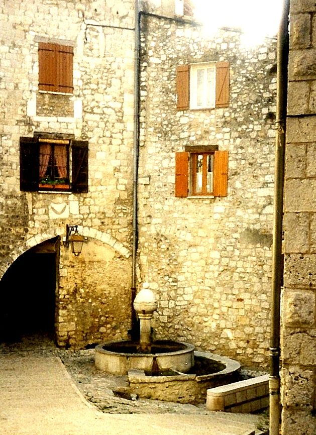 Fountain in center of Peille, France