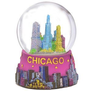 Chicago Snow Globe Purple Chicago Snow Globes from Chicago Souvenirs Collection