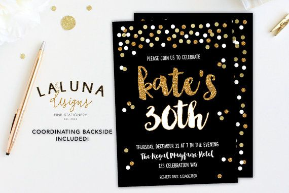 30th Birthday Invitation 21st Birthday by LaLunaDesigns on Etsy