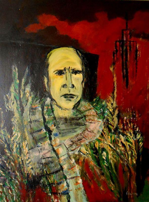 Acrílico sobre tela 80x60 by Fernando Barros. Fim de Outono em Manhattan, poema de Eugénio de Andrade