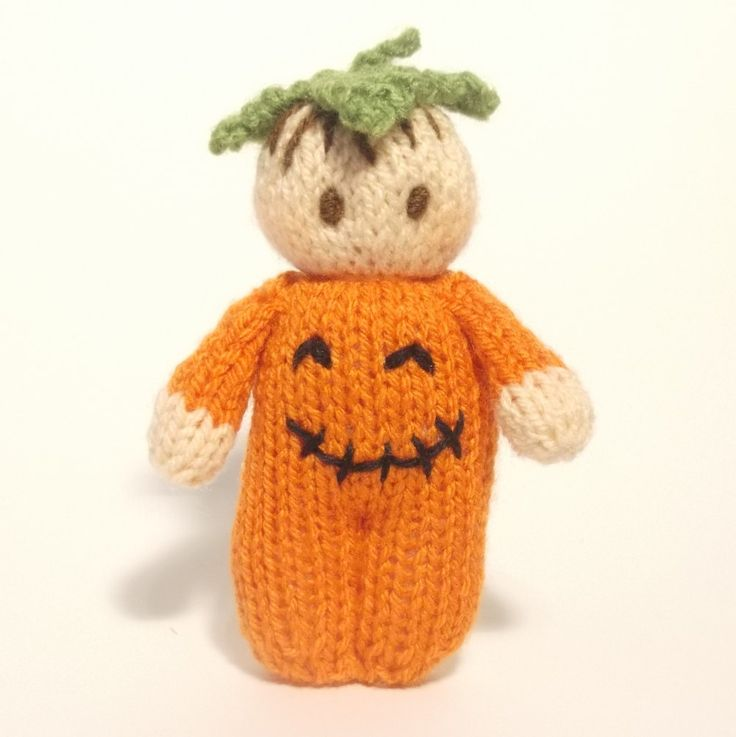 Halloween Bitsy Baby  Pumpkin doll knitting pattern by ClaireFairallDesigns on Etsy