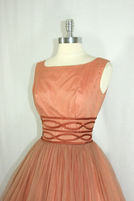 Vintage 1950's  Dress  Mocha Almond Chiffon Full Skirt Party Frock by VintageFrocksOfFancy
