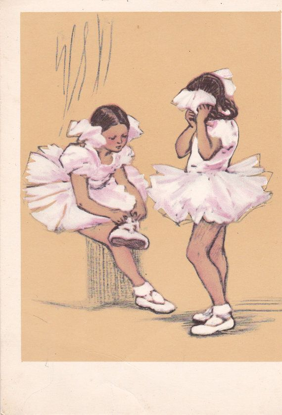 Vintage Petrova Young Ballerinas Postcard  by RussianSoulVintage