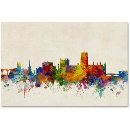 Trademark Fine Art Durham England Skyline Beige Canvas Art by Michael Tompsett, Size: 30 x 47, Multicolor
