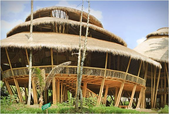 Ibuku Architecture Design is a company devoted in using bamboo as a sustainable building material. Using only bamboo, they have constructed these incredible buildings for the renowned green school and adjacent green village in the Ayung River Valley in Bali, Indonesia. The master-planned community is inspired by the surrounding jungle and traditional Indonesian architecture, harboring an authentic connection between the residents and their surroundings.