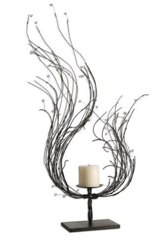 Uttermost 19536 FALON, CANDLEHOLDER by Uttermost. $135.61. Length 4.75. Dark brown wash accented with clear beads. Height 26. Distressed beige candle included. Width 15. Made from hand forged metal, this candleholder features a dark brown wash accented with clear beads. Distressed beige candles included.Material Metal