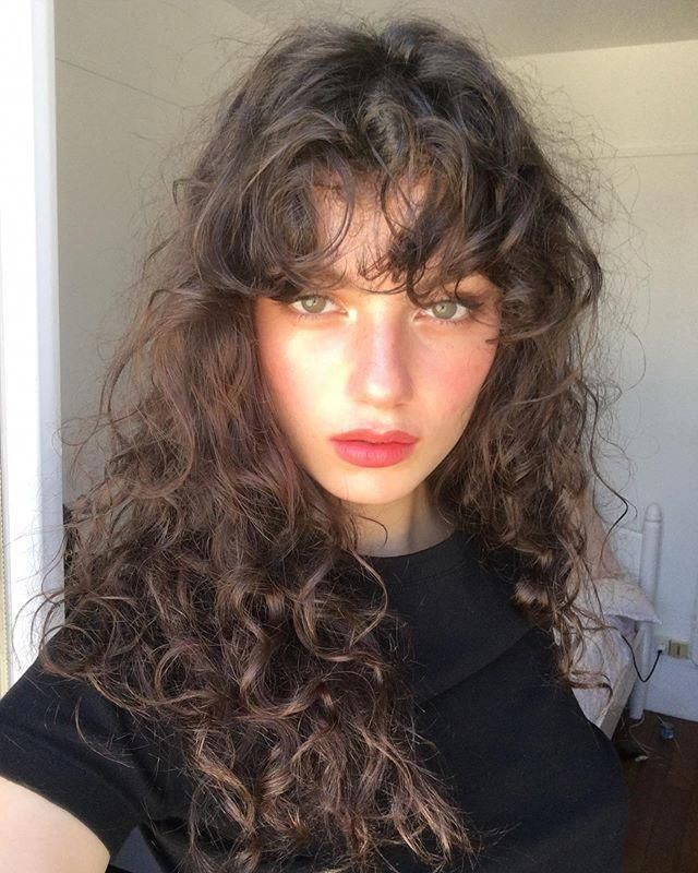 Curly Bangs Ig Zoiamossour Curlybangs In 2020 Curly Hair Photos Curly Hair With Bangs Long Hair Styles