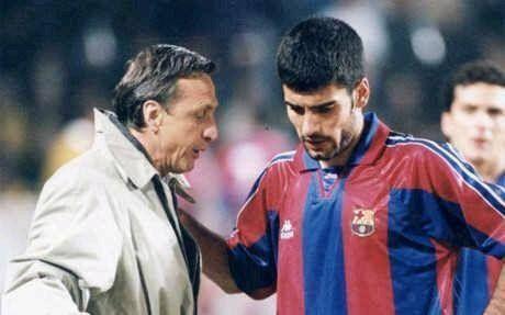 Johan Cruyff and his player, Pep Guardiola.