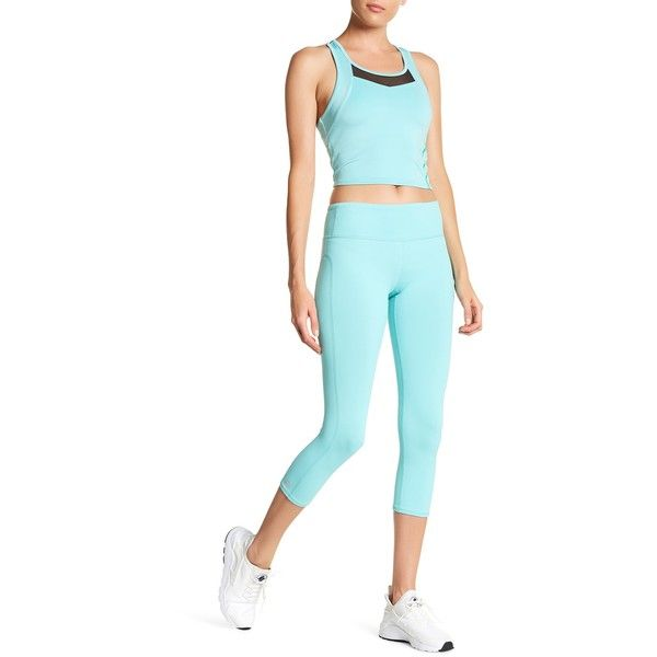 Threads 4 Thought Half Lotus Cropped Legging ($30) ❤ liked on Polyvore featuring pants, leggings, aqua splash, cropped pants, white cropped trousers, threads for thought, cropped leggings and white trousers