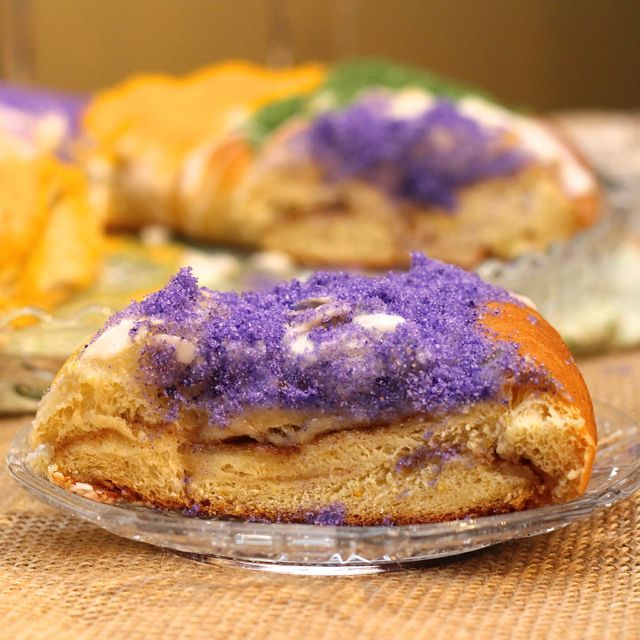 A traditional recipe for a New Orleans Mardi Gras Cream Filled King Cake