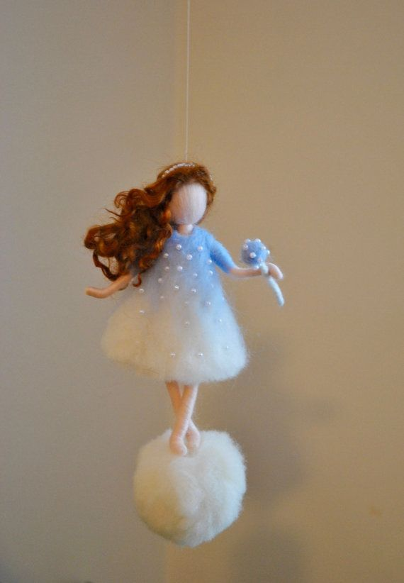 Wool Ornament Needle Felted fairy : Snowflake Fairy