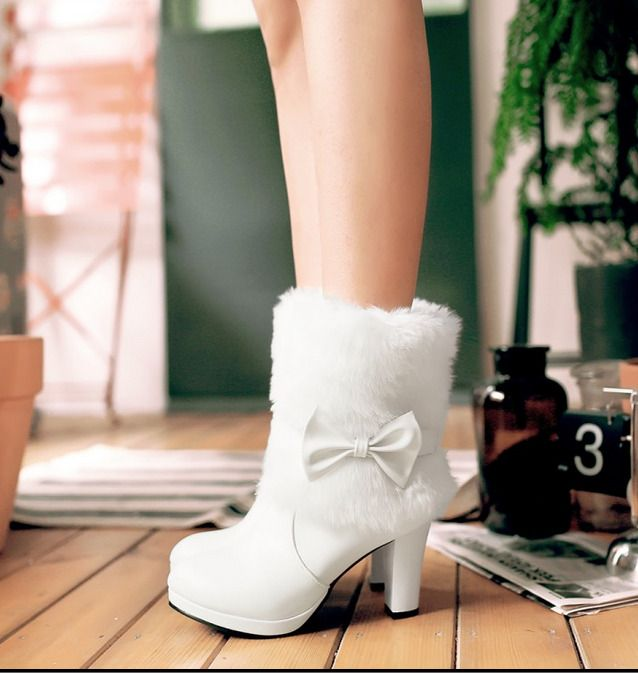 Womens Round Toe Bowknot Fur Ankle Boots High Heel Chunky Block Shoes Plus Size